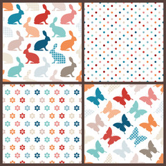 4 Seamless Pattern Easter Bunny & Butterfly Red/Blue