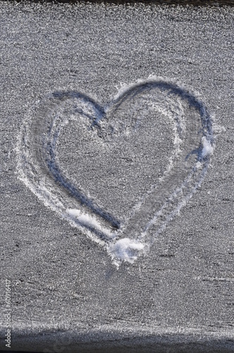 Heart drawn in the frost