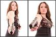 hispanic Woman with a gun, white background set