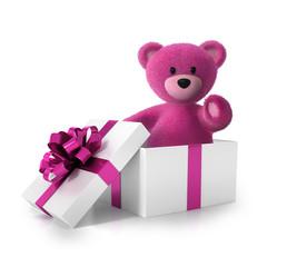 Pink Teddy im Geschenkkarton