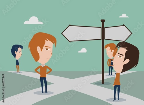 Business people standing at a crossroads design