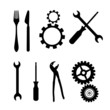 Cogs, Gears, Screwdriver, Pincers, Spanner