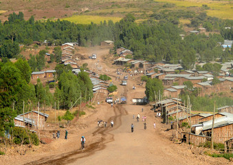 AZEZO, ETHIPIA - NOVEMBER 23, 2008: Village life, domestic build