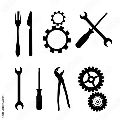 Cogs, Gears, Screwdriver, Pincers, Spanner