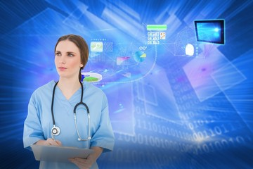 Composite image of thoughtful female doctor holding a clipboard