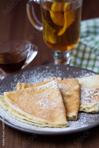 Thin sweet pancakes with sugar for Breakfast, shrovetide