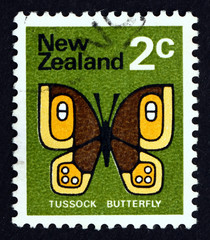 Postage stamp New Zealand 1970 Tussock Butterfly