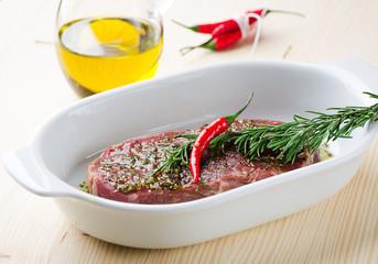 Red Raw Steak