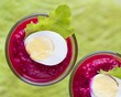 Beetroot, beet cream salad, mousse with eggs in hot glass