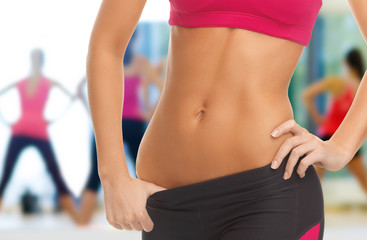 woman trained abs