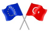 Flags : duet Europe and Turkey