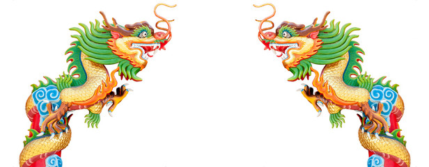 Chinese style dragon statue isolate with white background