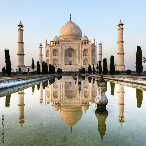 Taj Mahal in India in sunrise