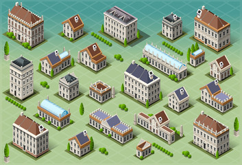 Set of Isometric European Buildings