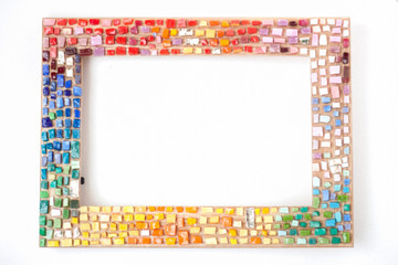 Photo frame decorated with colorful mosaic
