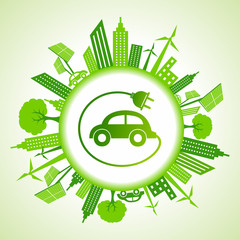 Eco cityscape with electric car stock vector