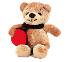 Teddy Bear holding a heart.