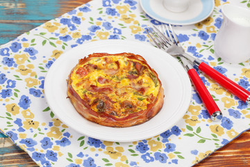 Breakfast. Smoked bacon, leek and roast garlic quiche