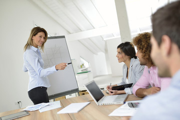 Manager doing business presentation on whiteboard