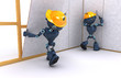 3D Render of Androids building a stud wall