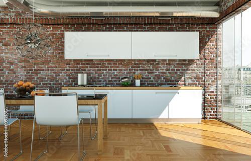 moderne Wohnküche im Loft