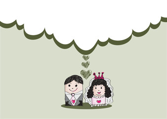 drawn wedding couple wedding