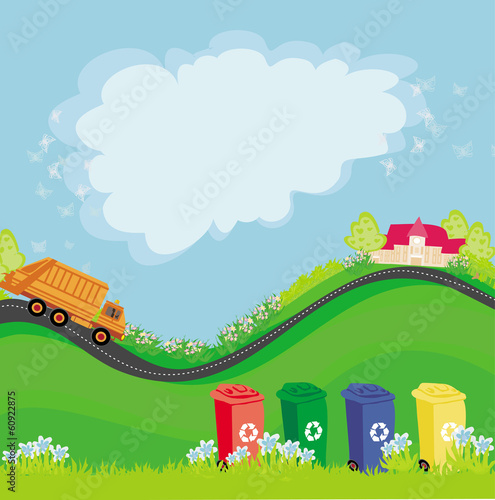 segregation of garbage, abstract card with the ecological landsc