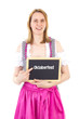 Woman in dirndl pointing blackboard : Oktoberfest