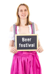 Waitress in dirndl shows blackboard : Beer festival