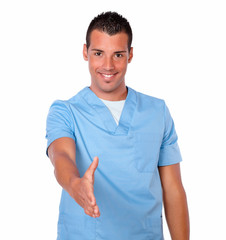 Charming nurse guy with greeting gesture
