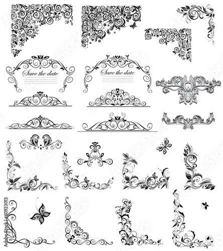 Set of vintage floral caption (black and white)