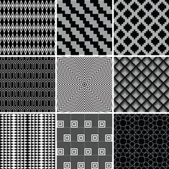 Collection of black seamless patterns
