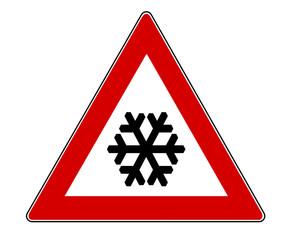 Warnschild wegen Schnee und Eis