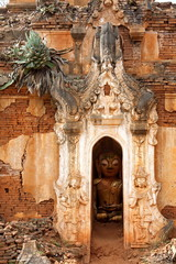 Buddha statue at a ancient temple at Bagan, Myanmar