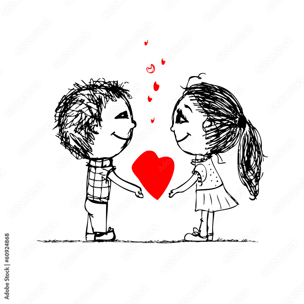 Couple In Love Together Valentine Sketch For Your Design Wall ... for Couple Sticker Line  183qdu