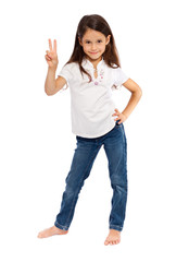 Young girl with victory sign
