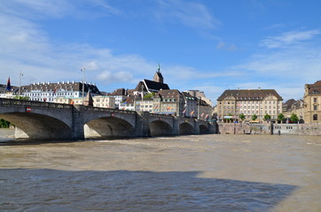 Mittlere Brücke with the Rhine in flood, Basel, Switzerland