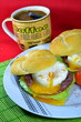 Poached egg on toasted English muffin