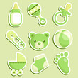 Set of green baby shower icons