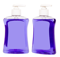 Bottles with lilac liquid soap