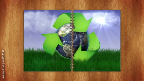 Recycle Earth Concept in Book, Loop