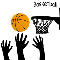 Silhouettes of hands and ball