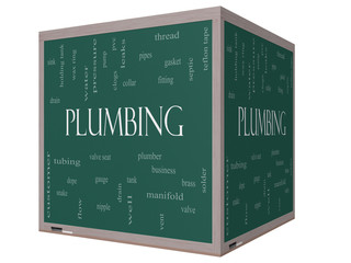 Plumbing Word Cloud Concept on a 3D cube Blackboard