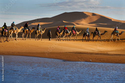 Caravan of tourists passing desert lake on camels