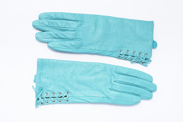 Ladies leather gloves turquoise