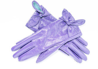 Ladies leather gloves purple