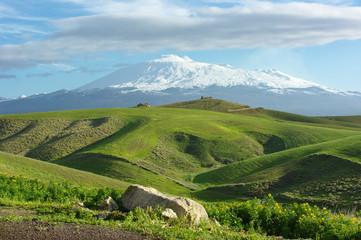 Farmland And Volcano Etna Snow Capped
