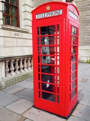Red Telephone Booth in London, UK.