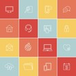 Set of thin flat social, media, web icons in minimal style