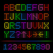 Colorful Digital Font, Vector Illustration